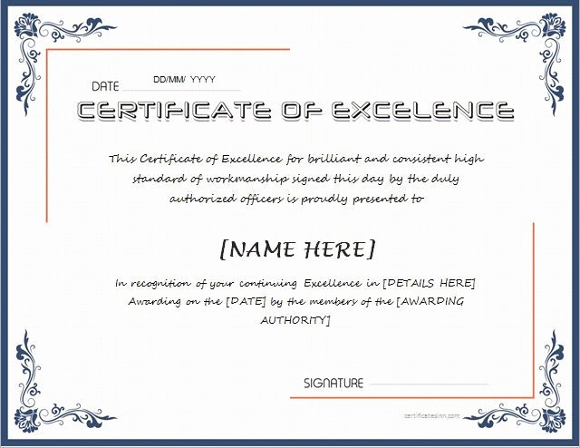 Certificate Of Excellence for Employee New Certificate Of Excellence for Ms Word Download at