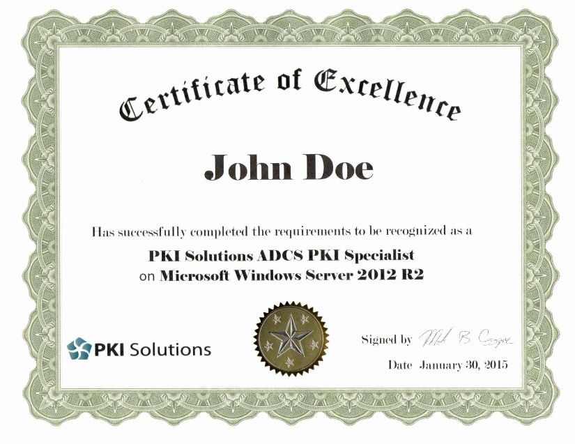 Certificate Of Excellence for Employee New Certificate Of Excellence for Students Pki solutions Inc