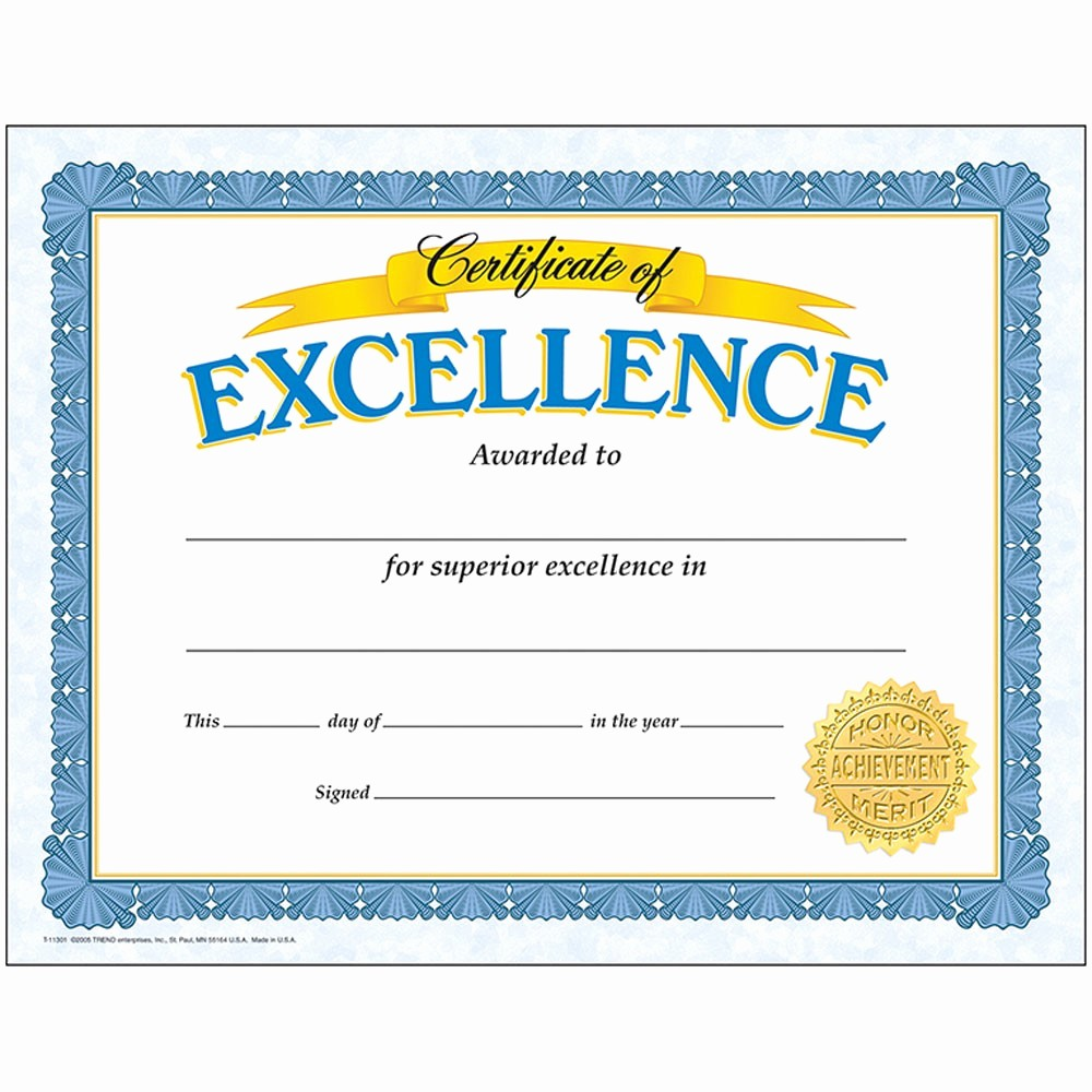 Certificate Of Excellence for Students Awesome Certificate Excellence 30 Pk T