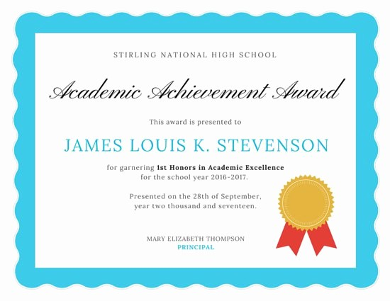 Certificate Of Excellence for Students Awesome Customize 56 Academic Certificate Templates Online Canva