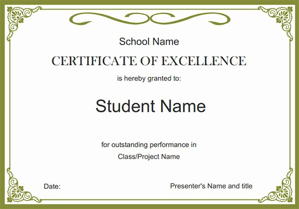 Certificate Of Excellence for Students Best Of 24 Printable Sample Certificate Templates
