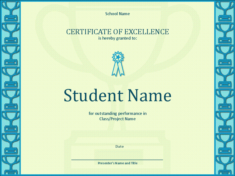 Certificate Of Excellence for Students Elegant Certificates Fice