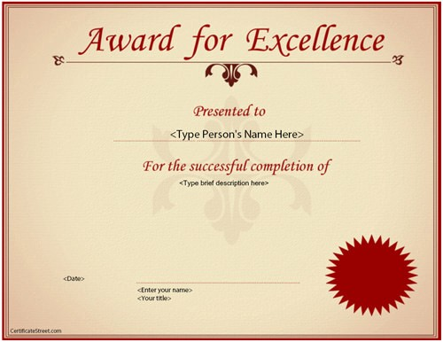 Certificate Of Excellence for Students Fresh 23 Best Award Certificate Templates