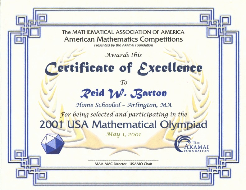 Certificate Of Excellence for Students Fresh Awards for the Amc 10 Amc 12 Contests Aime & Usamo