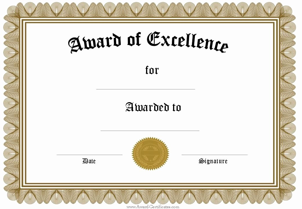 Certificate Of Excellence for Students Fresh Free Funny Award Certificates Templates