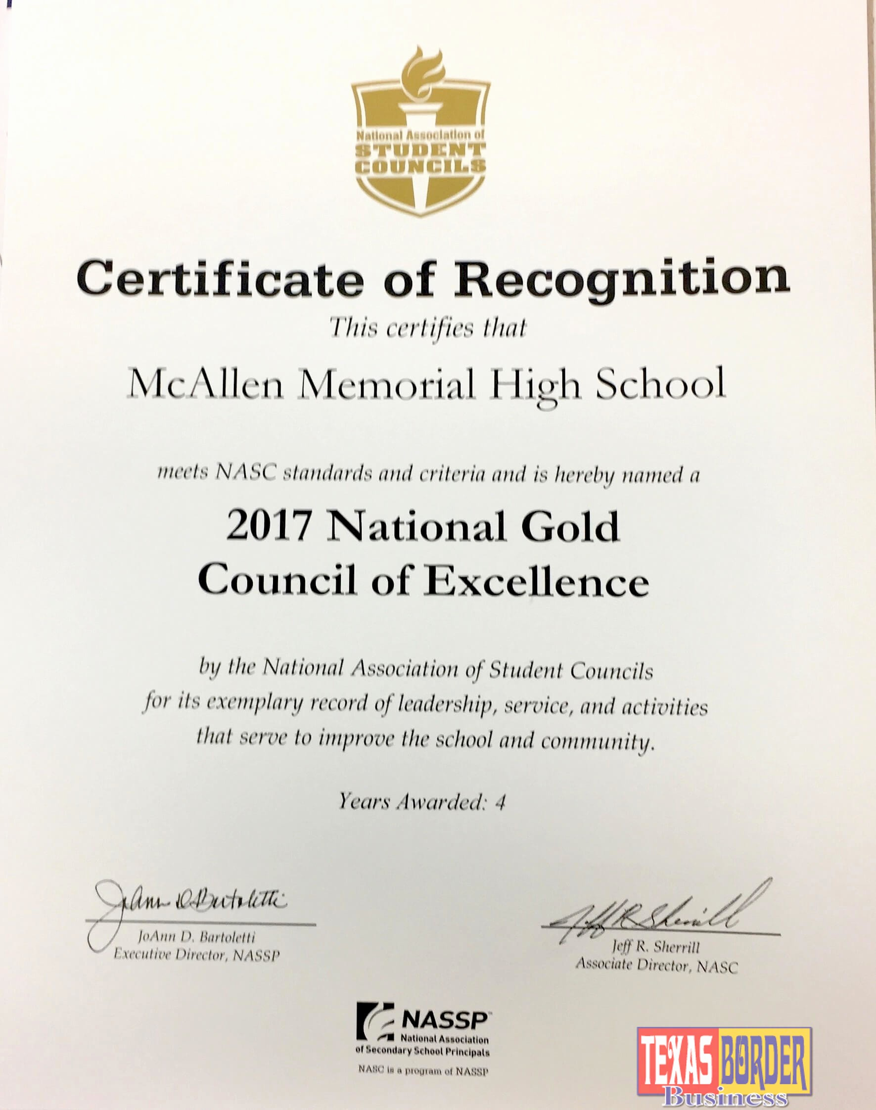 Certificate Of Excellence for Students Fresh Mcallen Memorial High School Receives National Student
