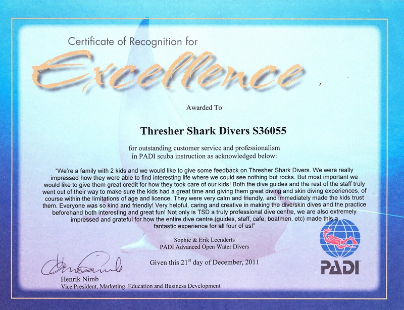 Certificate Of Excellence for Students Fresh Thresher Shark Divers Malapascua Philippines