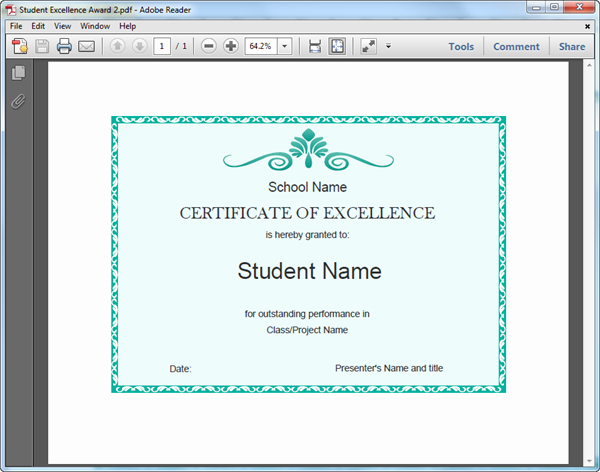 Certificate Of Excellence for Students Inspirational Student Excellence Award Templates for Pdf