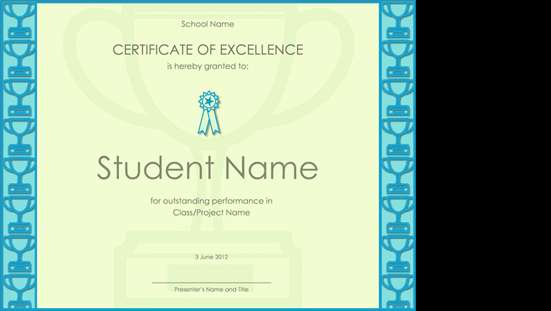 Certificate Of Excellence for Students Lovely Certificates Fice
