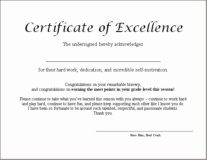 Certificate Of Excellence for Students Lovely End Of Year Certificates Grace Dewolff