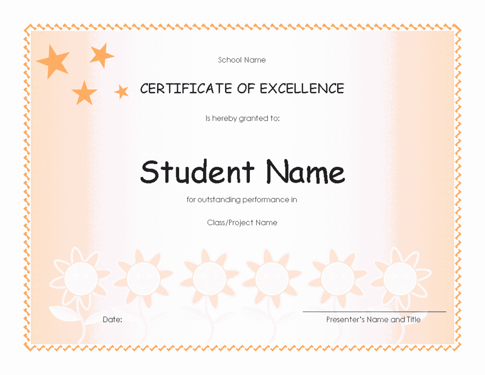 Certificate Of Excellence for Students Lovely Student Excellence Award Elementary Free Certificate