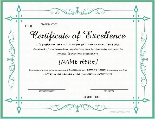Certificate Of Excellence for Students Luxury Certificates Of Excellence for Ms Word