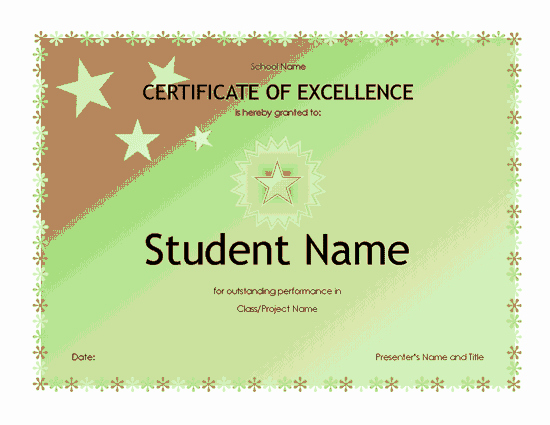 Certificate Of Excellence for Students Luxury Download Student Free Certificate Templates for Ms Fice