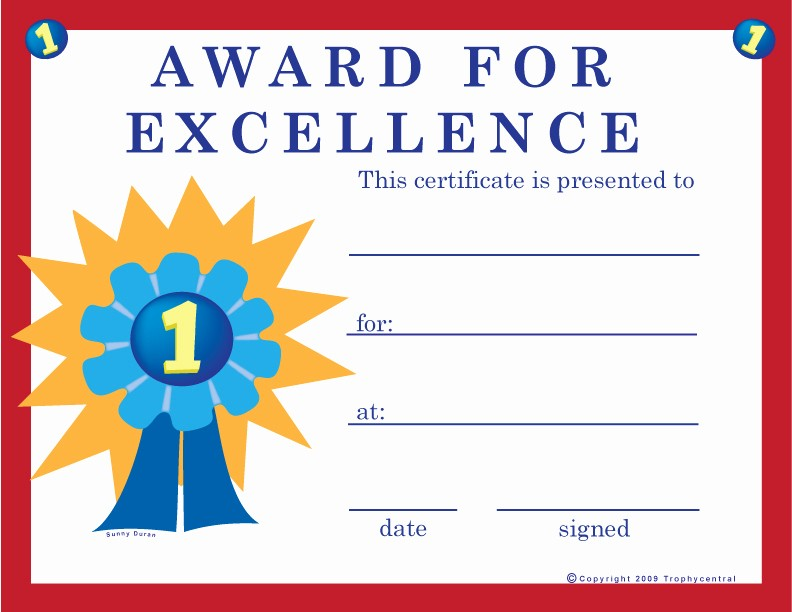 Certificate Of Excellence for Students Luxury Free Excellence Certificates Certificate Free Excellence