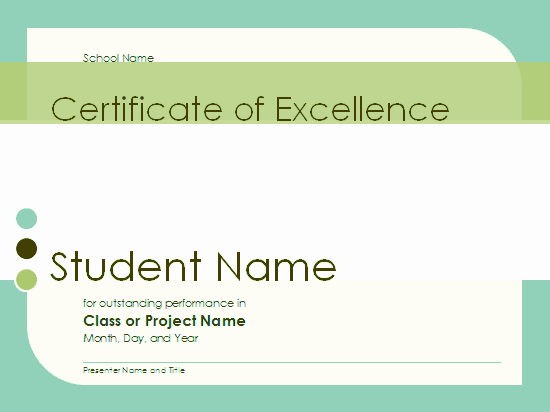Certificate Of Excellence for Students New Certificate Excellence for Student Free Certificate