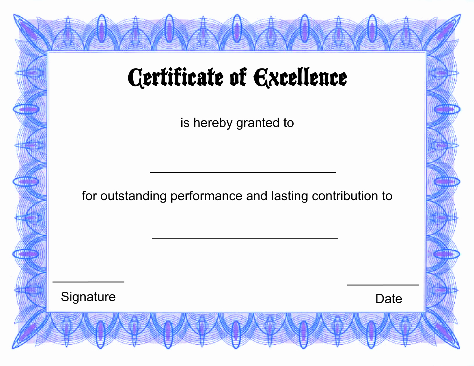 Certificate Of Excellence for Students Unique Blank Certificate Templates to Print