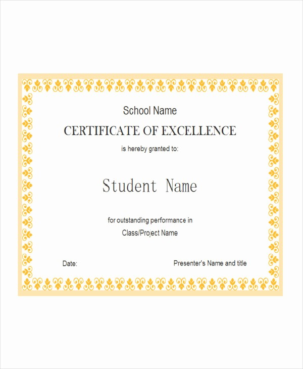 Certificate Of Excellence for Students Unique Student Award Templates 9 Free Word Excel Pdf