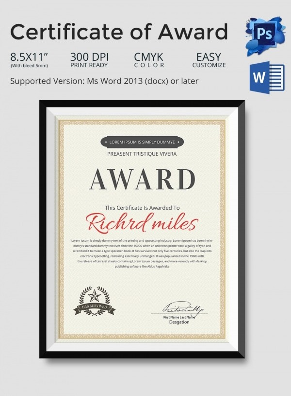 Certificate Of Excellence Template Word Awesome Word Certificate Template 31 Free Download Samples