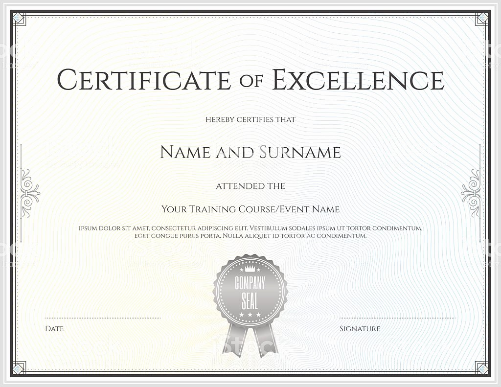 Certificate Of Excellence Template Word Beautiful Certificate Excellence Template In Vector Stock Vector