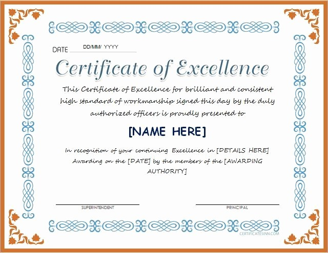 Certificate Of Excellence Template Word Beautiful Certificate Of Excellence for Ms Word Download at