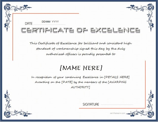 Certificate Of Excellence Template Word Beautiful Certificates Of Excellence for Ms Word
