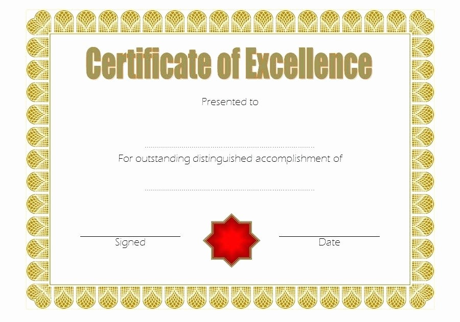 Certificate Of Excellence Template Word Beautiful Fillable and Printable Award Certificates Certificate