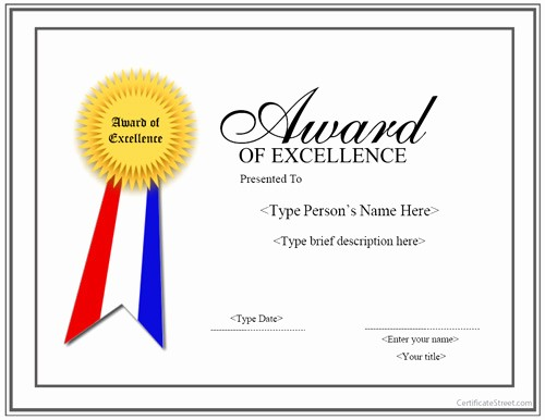Certificate Of Excellence Template Word Beautiful Special Certificates Award for Excellence with Ribbon