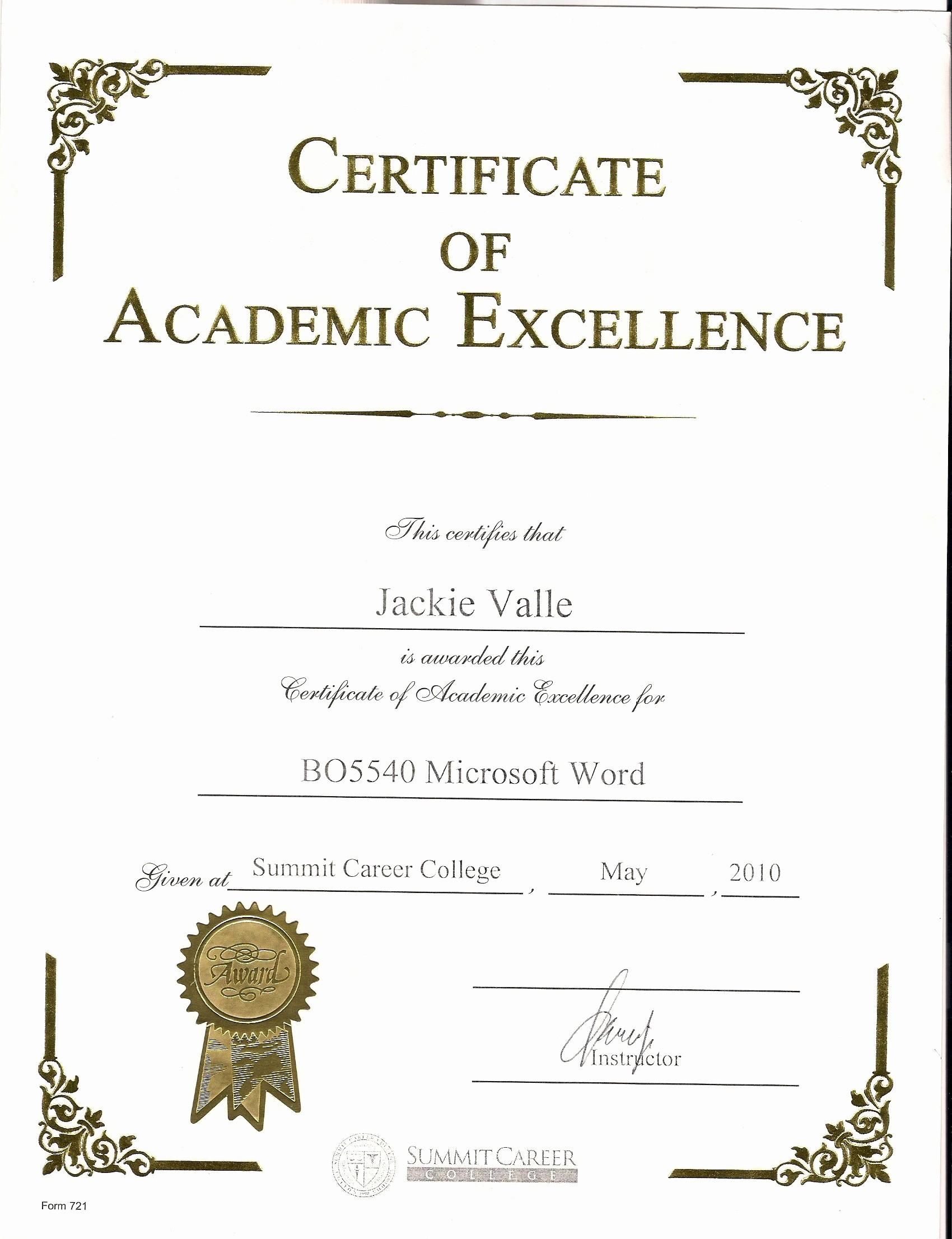 Certificate Of Excellence Template Word Best Of Awards and Certificates Jacqueline Valle Professional