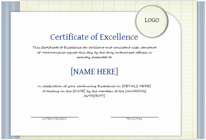 Certificate Of Excellence Template Word Best Of Certificate Of Excellence Template for Word