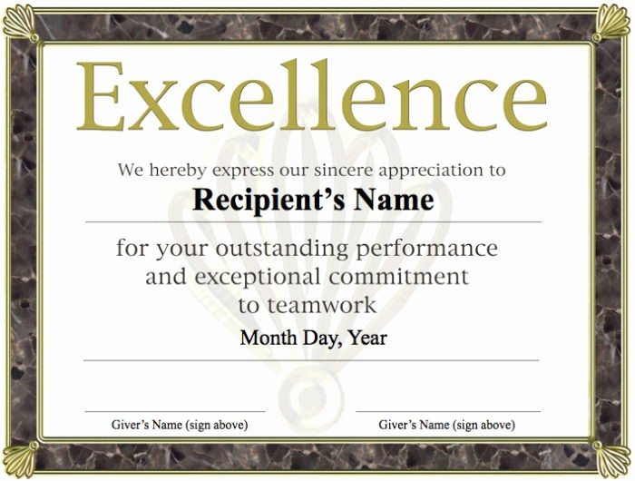 Certificate Of Excellence Template Word Elegant Long Service Award Certificate Template 2010 Templates