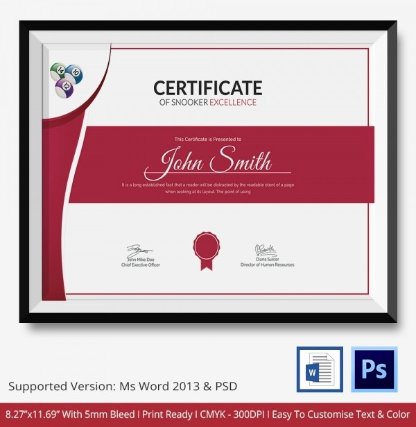 Certificate Of Excellence Template Word Elegant Snooker Certificate Template 4 Free Word Pdf Documents