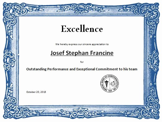 Certificate Of Excellence Template Word Fresh Award Certificate Template Word