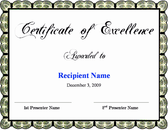 Certificate Of Excellence Template Word Fresh Certificate Of Excellence Template