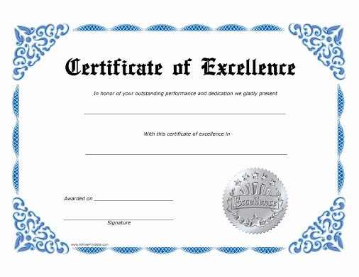 Certificate Of Excellence Template Word Fresh Certificate Templates formatted