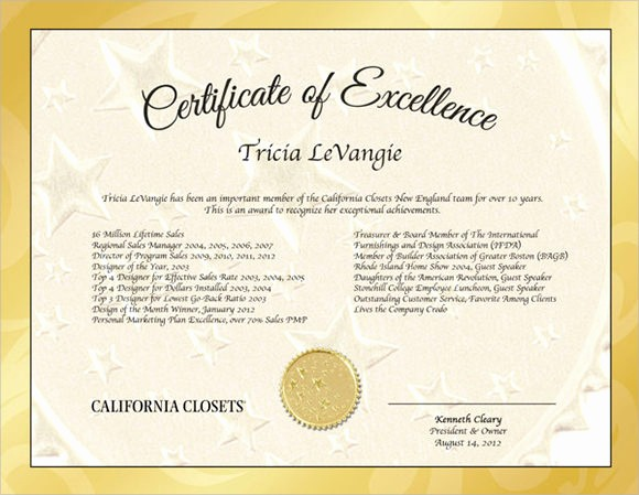 Certificate Of Excellence Template Word Inspirational 9 Certificate Of Excellence Templates – Samples Examples