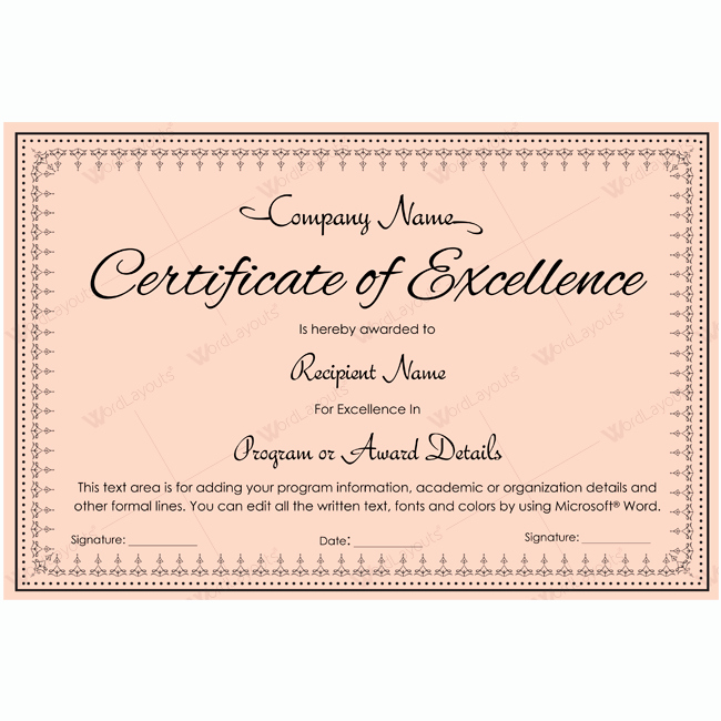 Certificate Of Excellence Template Word Inspirational Certificate Excellence 13 Word Layouts