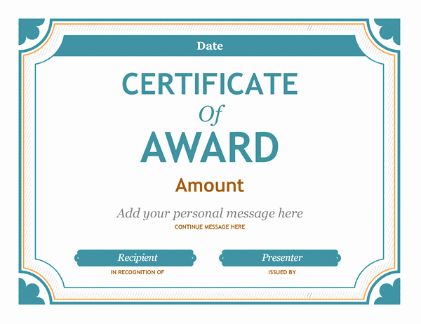 Certificate Of Excellence Template Word Inspirational Gift Certificate Award