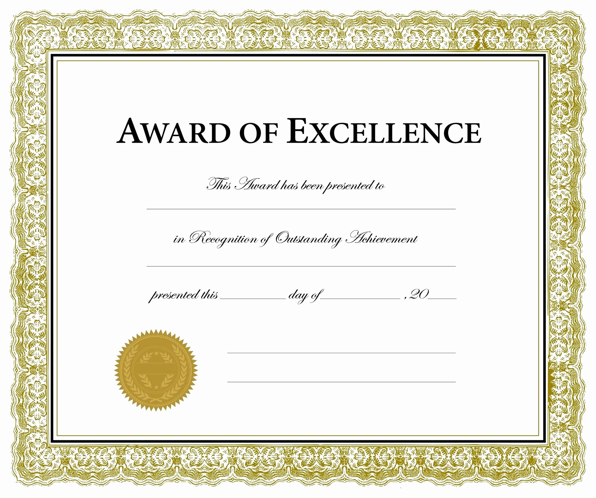 Certificate Of Excellence Template Word Inspirational Template Excellence Award Template