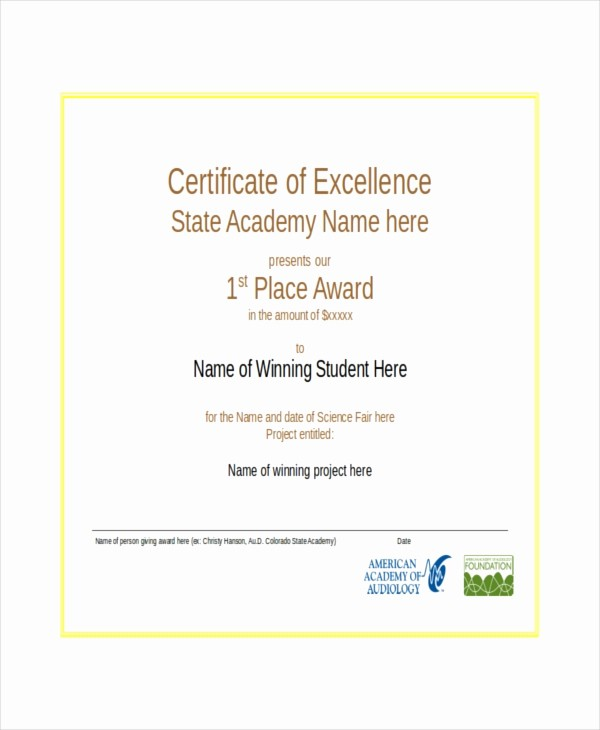 Certificate Of Excellence Template Word Lovely Excellence Certificate Template 16 Free Word Pdf Psd