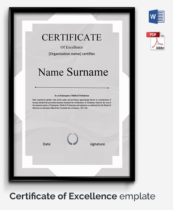 Certificate Of Excellence Template Word Luxury 52 Free Printable Certificate Template Examples In Pdf
