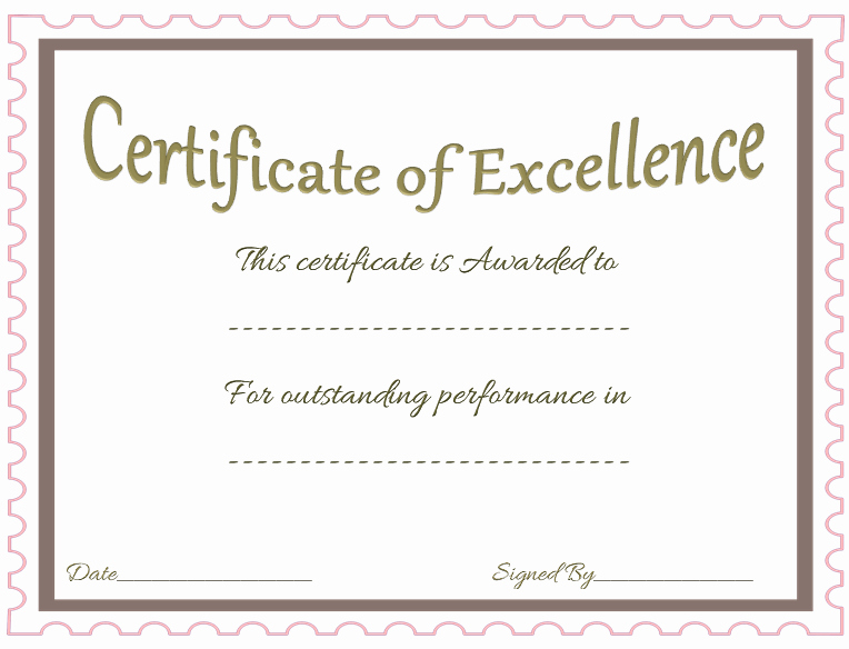 Certificate Of Excellence Template Word Luxury Award Certificate Template Celebrate Achievements