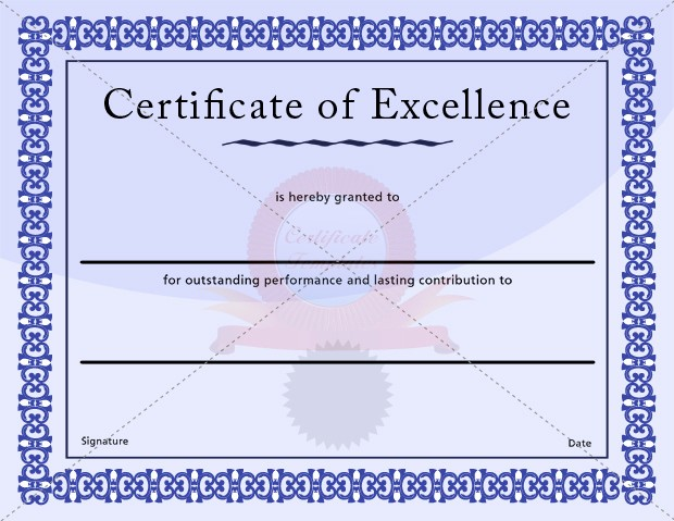 Certificate Of Excellence Template Word Luxury Certificate Of Excellence Template