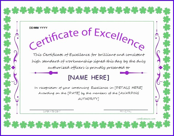 Certificate Of Excellence Template Word New 14 Certificate Excellence Template Exceltemplates