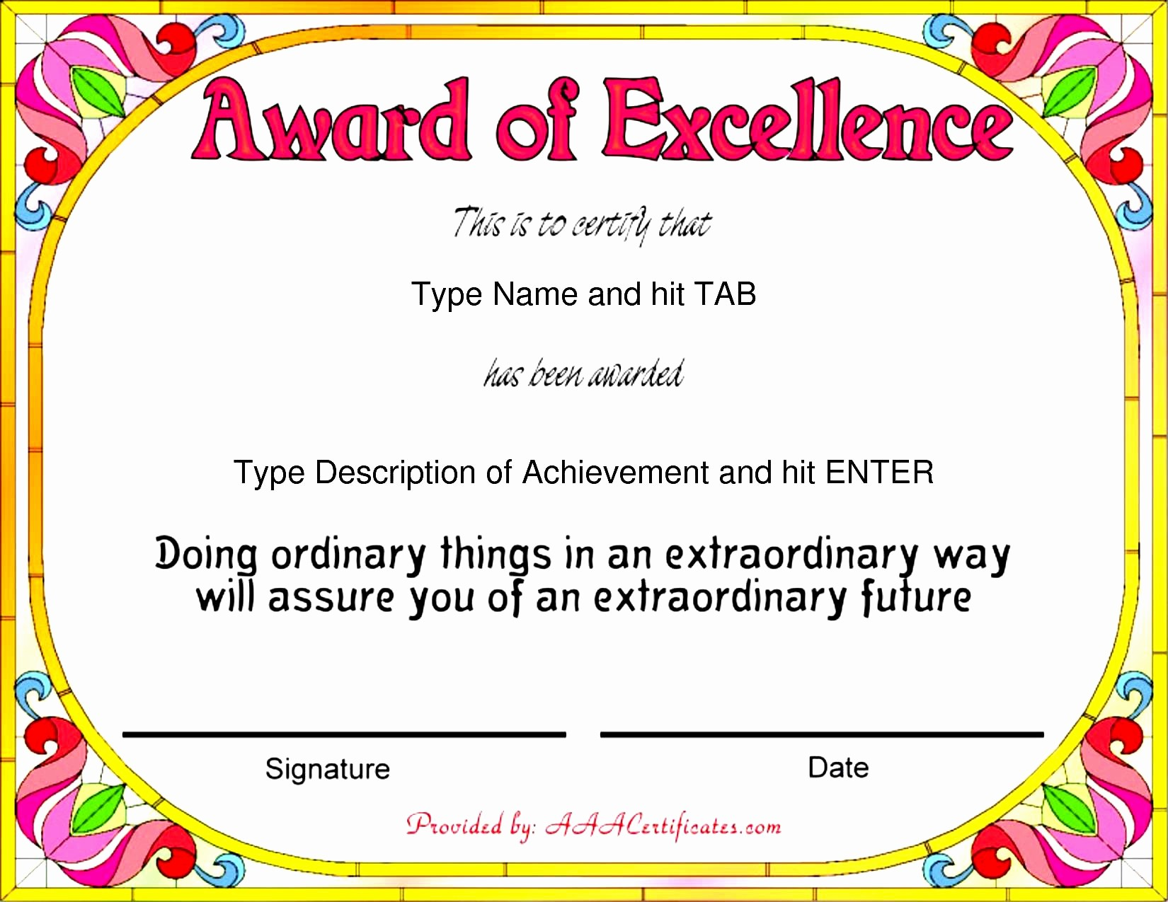 Certificate Of Excellence Template Word New 43 Stunning Certificate and Award Template Word Examples