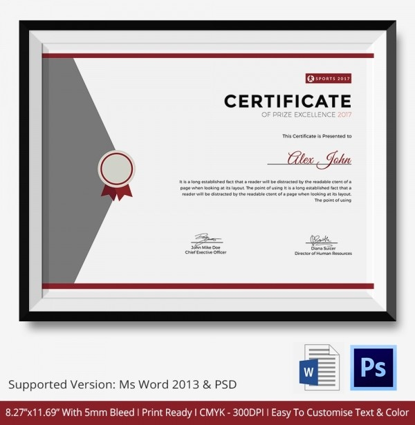 Certificate Of Excellence Template Word New Award Certificate Template 39 Word Pdf Psd format