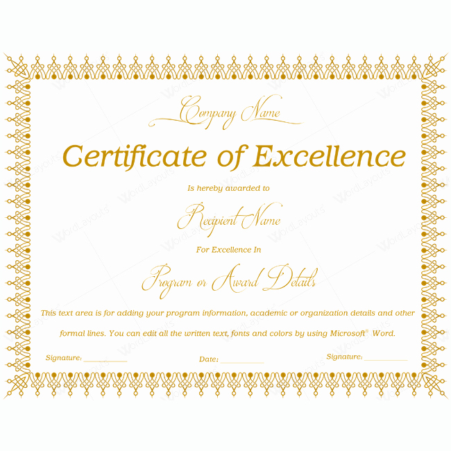 Certificate Of Excellence Template Word Unique 89 Elegant Award Certificates for Business and School events