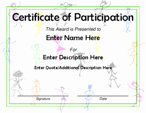 Certificate Of Participation for Kids Fresh Award Certificate Templates