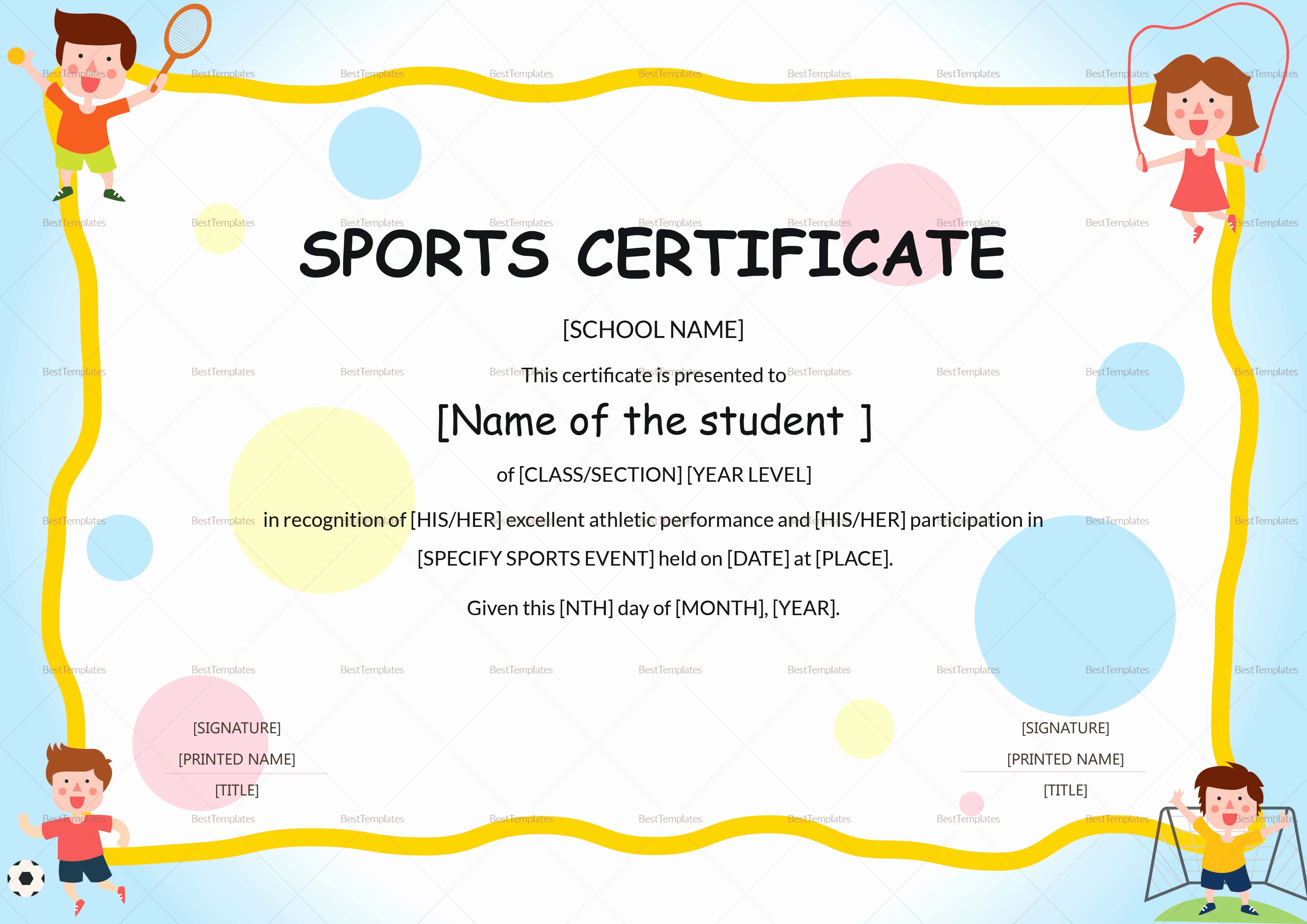 Certificate Of Participation for Kids Lovely Kids Sports Participation Certificate Design Template In