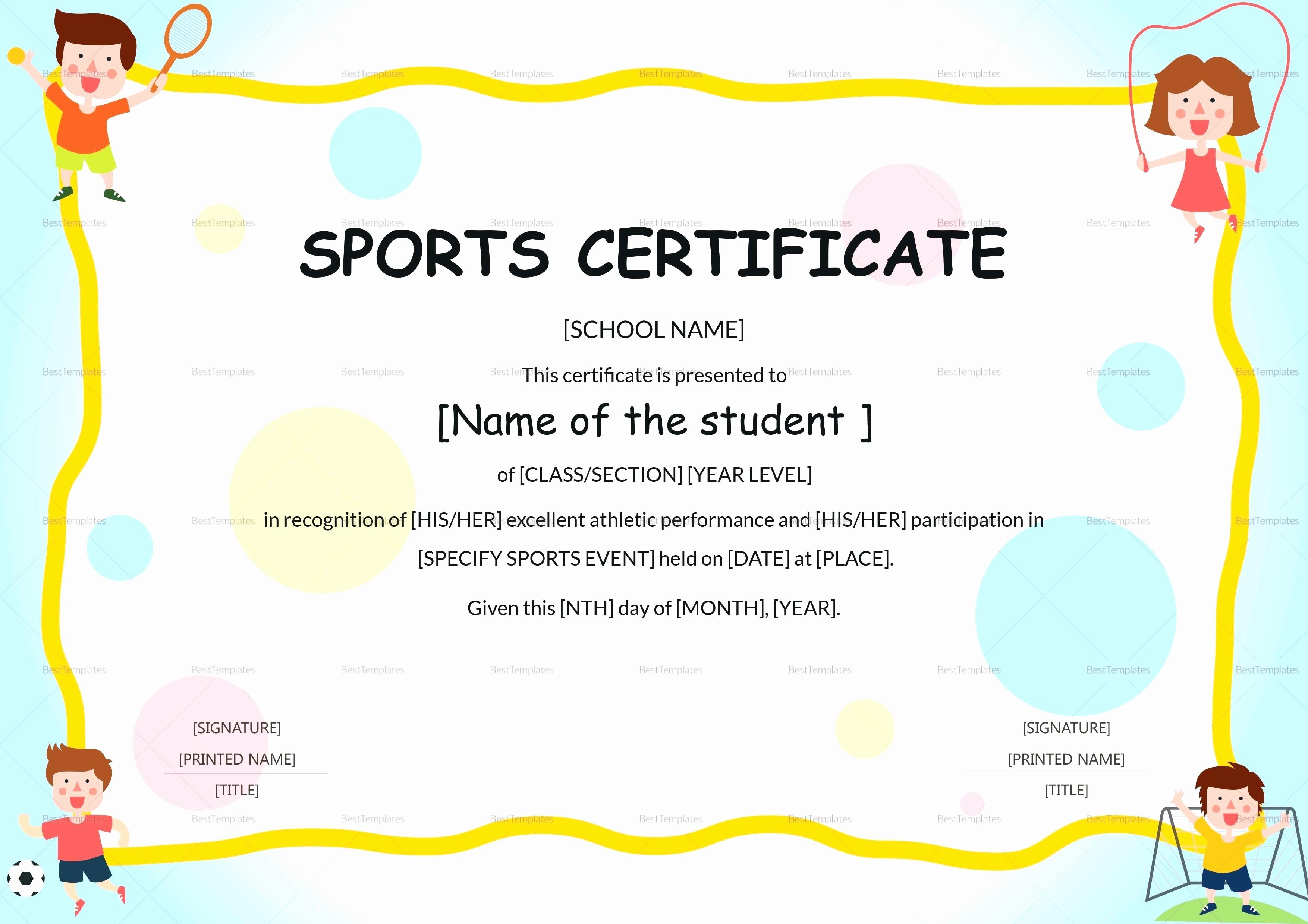 Certificate Of Participation for Kids Unique Template Kids Certificate Template