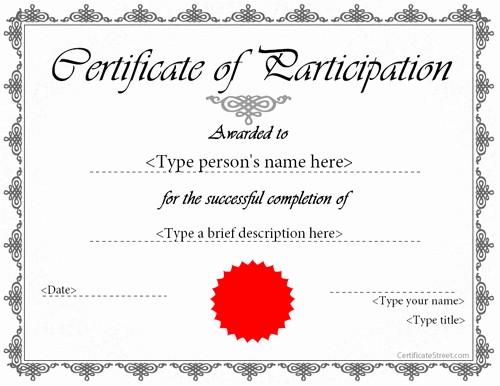 Certificate Of Participation Wording Samples Beautiful Printable Participation Templates